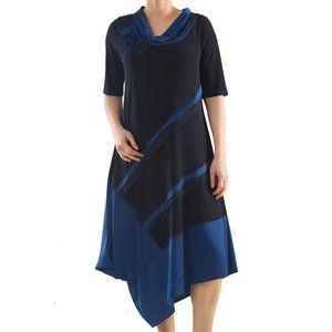Asymmetrical Cowl Neck Dress - Plus Size